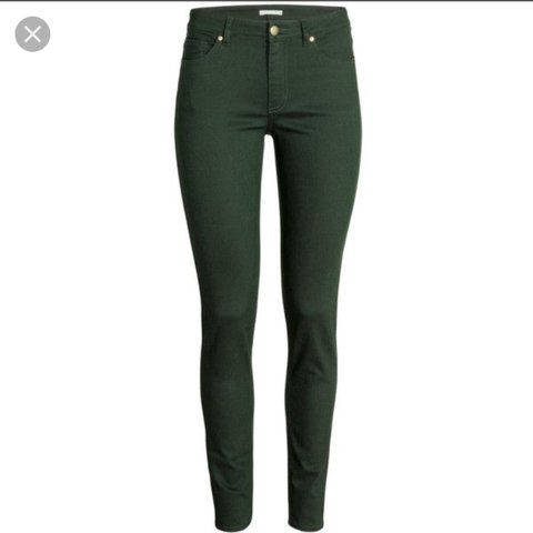 bc4875371c1f @elliethurley. 2 years ago. Hertfordshire, United Kingdom. H&M super  stretch high waisted skinny jeans in a dark bottle green ...