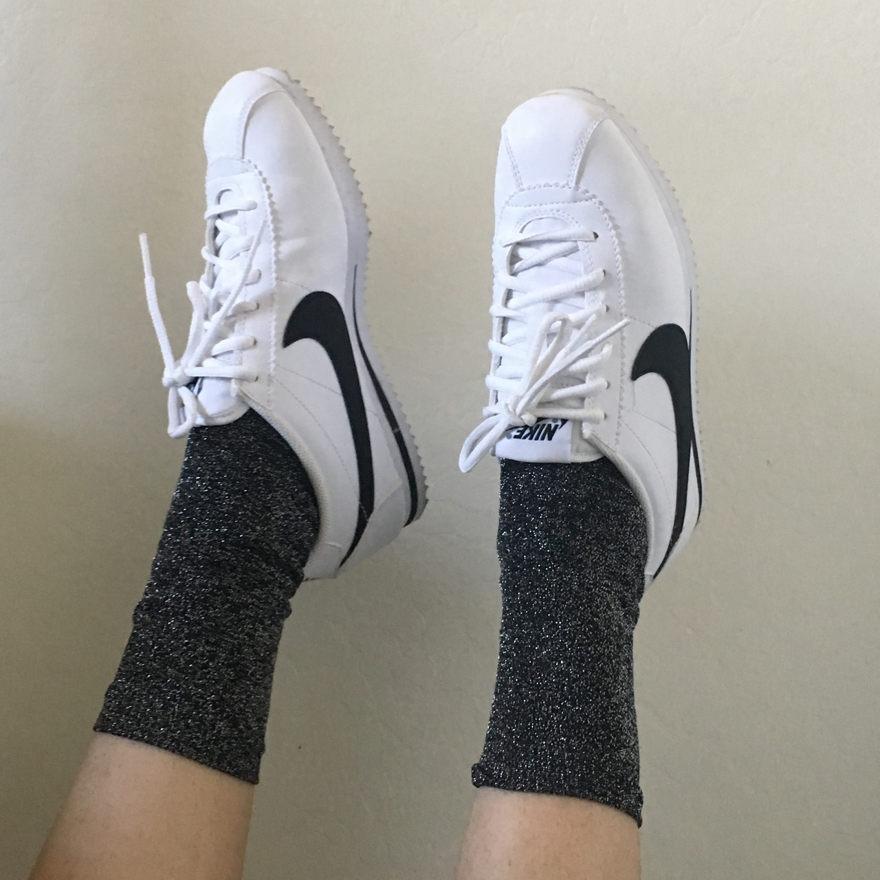 quality design 87957 a613c White and black NIKE Cortez. Like new, they just fit... - Depop