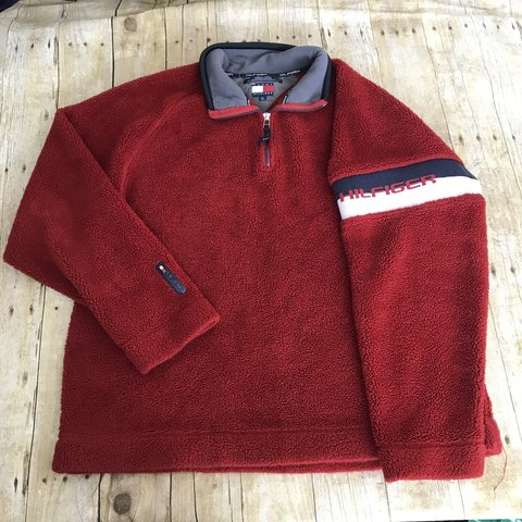 14a75989 @ale999. 6 months ago. Denton, United States. Vintage red Tommy Hilfiger  spell out fleece teddy bear 3/4 zip pullover! Size XL!