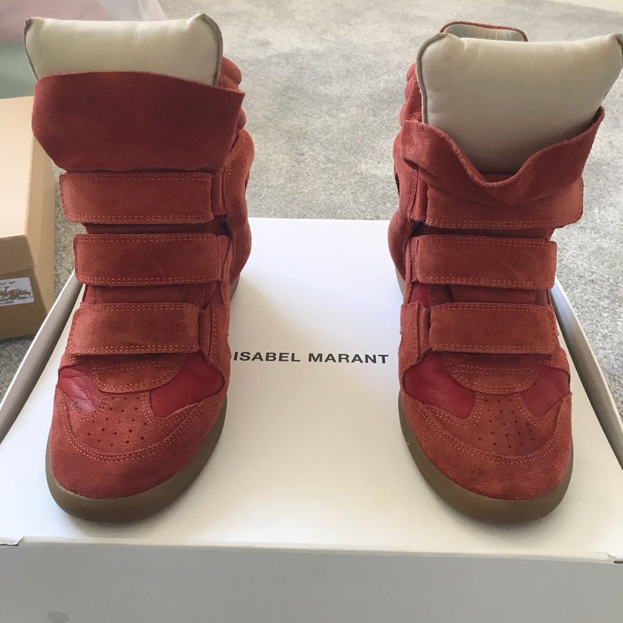 354f937b1a @marnie_10. 7 months ago. Liverpool, United Kingdom. Authentic red Isabel  Marant High Top sneakers.
