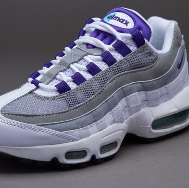 sports shoes d522f 46cb7 Air Max 95 size 6 White/Grey/Purple A few marks from... - Depop