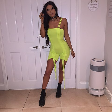 b26fdf71978 she has evolved neon lime green playsuit - ruched up which   - Depop