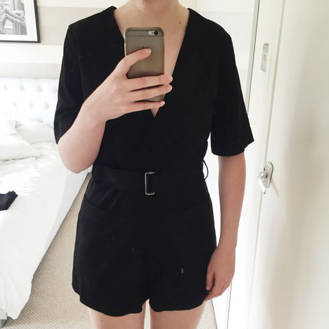 22b0fb05add Zara black suede effect playsuit