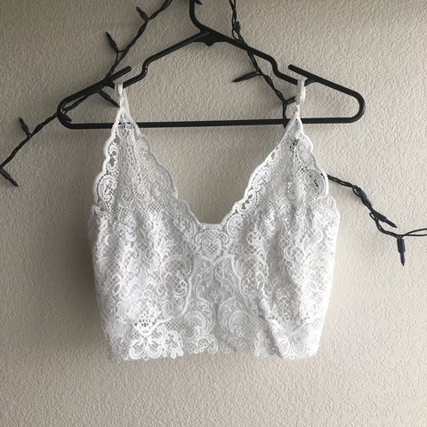 4c9530eacef Very cute and delicate white lace bralette! It has straps so - Depop