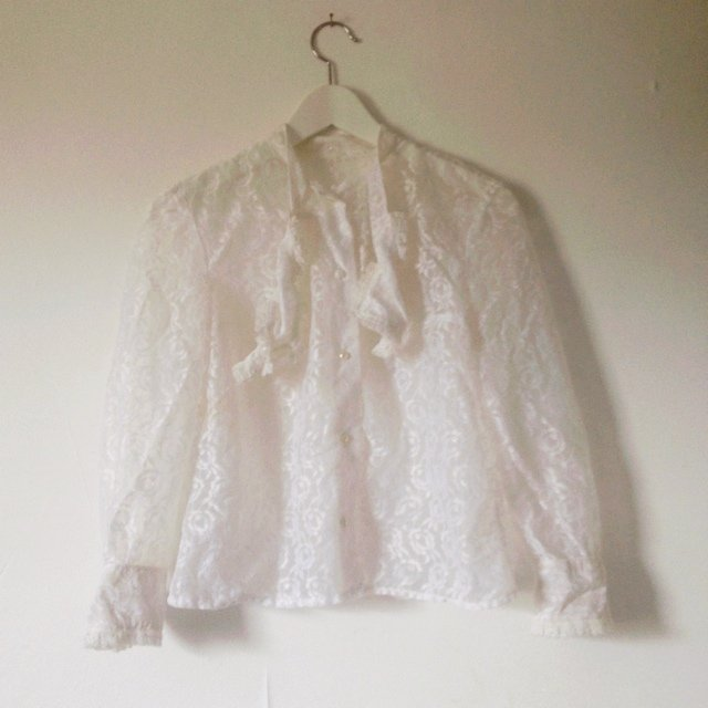b7e71df90c728 Vintage 70s sheer white lace blouse with pearl buttons. - Depop