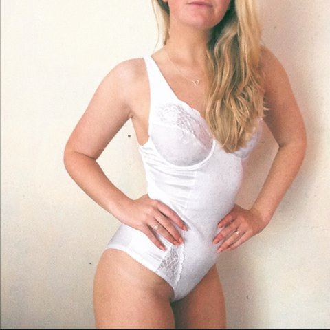 Divine bright white all in one bodysuit  all vintage is   is - Depop 99f41a8fd