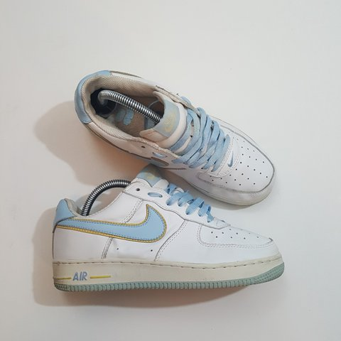 half off 8e56f 4bc47 Nike Air Force 1   Women s Size US 8   Baby Blue with Yellow - Depop