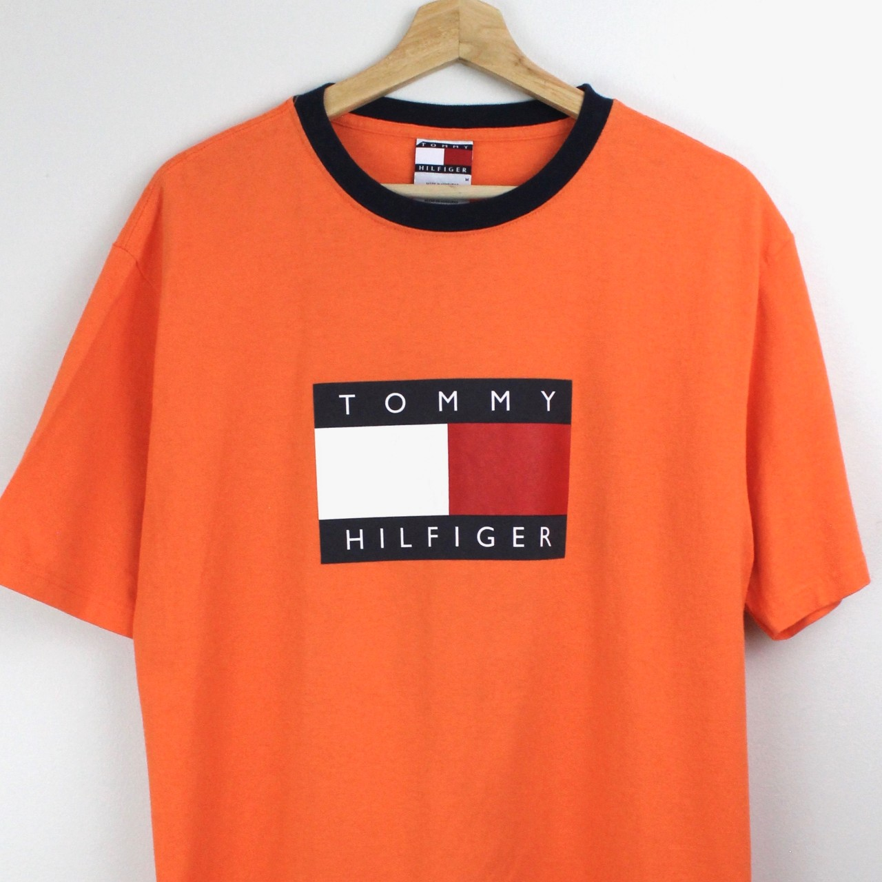 90's Tommy Hilfiger Flag T Shirt Navy Blue Size Medium