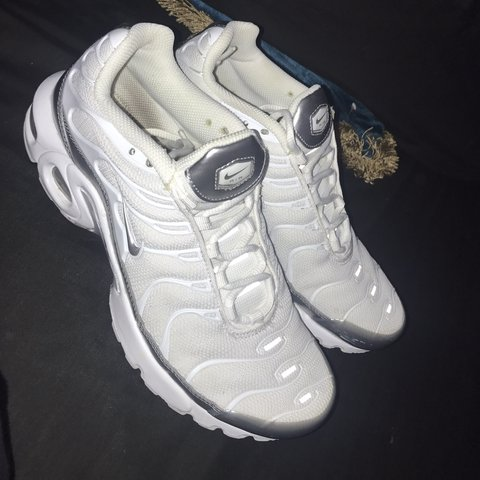 White and silver   grey Nike air max tuned 1   tns. Size 5.5 - Depop 71cce9215