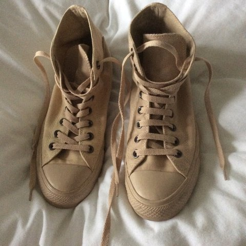 ae153944238eed Size 7 Nude Sand Converse. These are so so gorgeous! Too big - Depop