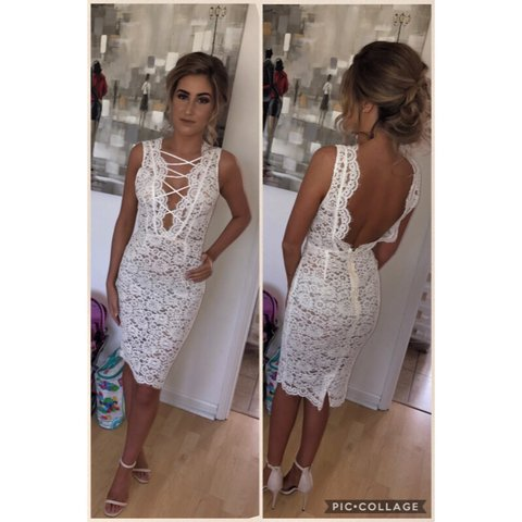 House Of Cbceleb Boutique White Lace Shasa Dress Depop