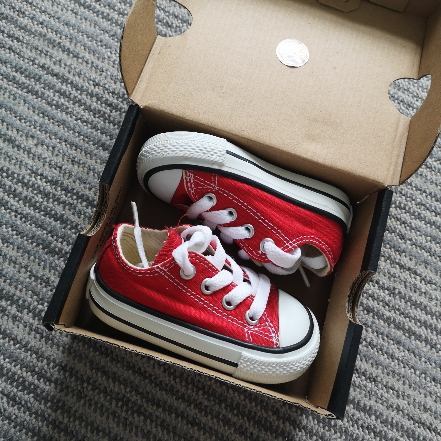 Infant size 3 baby converse in red Worn