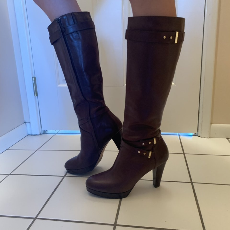 Cole Haan brown leather high heel boots