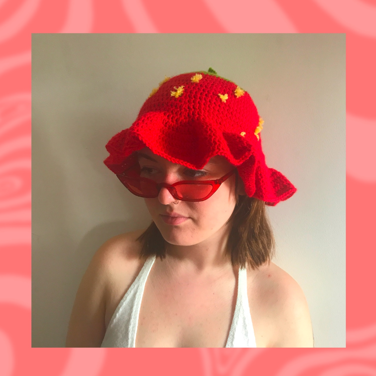 Strawberry Crochet Bucket Hat Comes In Red Or Pink Depop