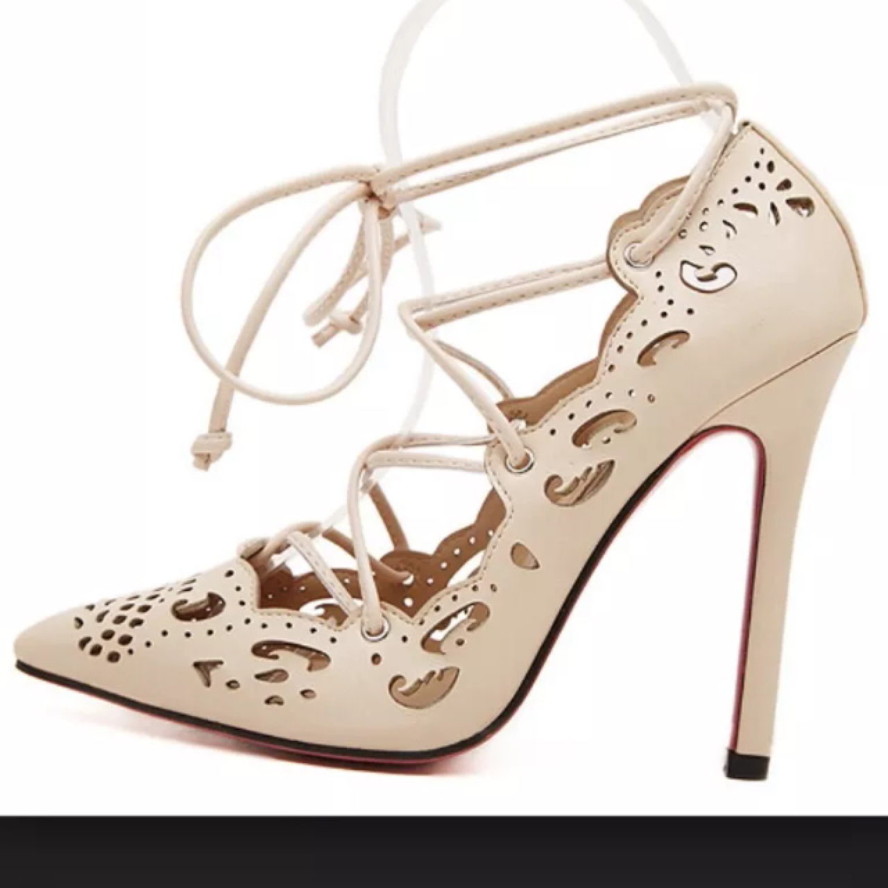 Black Lace Stiletto Pumps With Red Soles Pictures, Photos