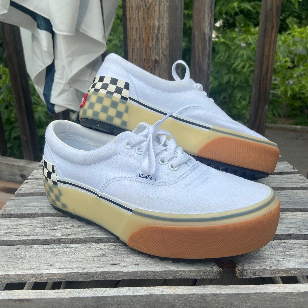 Vans era stacked white trainers Never