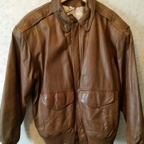 Vintage brown leather bomber jacket with world map lining s depop gumiabroncs Images