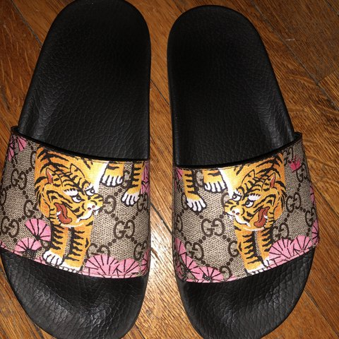 f035b6cff @shaughnessy1. last year. Boston, United States. Gucci Limited Edition  Bengal GG Slide.