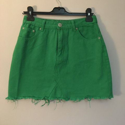 b9eb5b7b5a @samanthajgooding. 6 months ago. Bristol, United Kingdom. Bright green  denim skirt. Green skirt. Boohoo Size 10