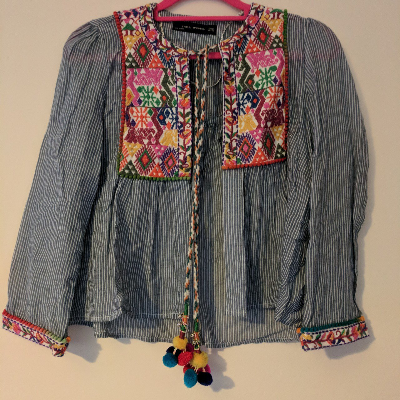 Zara Embroidered Jacket With Pom Poms Very Boho Perfect For Depop