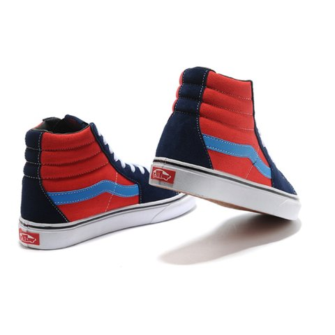 Vans Sk8-Hi high top sneakers in red and navy blue. Worn for - Depop b03c8e2a0
