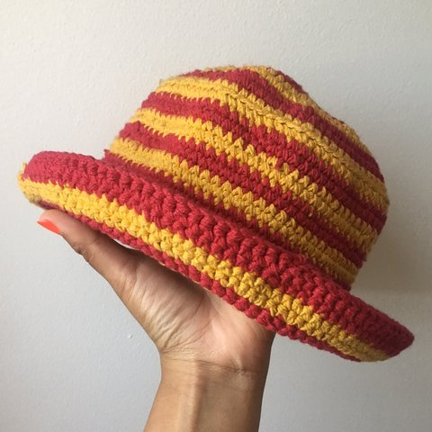 fc773649a943e Red and yellow stripe crochet bucket hat. Cotton. Hand made. - Depop
