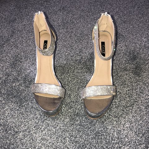 8eba1d97b3f3 Quiz silver diamond wedges. Worn once in Ibiza for about an - Depop
