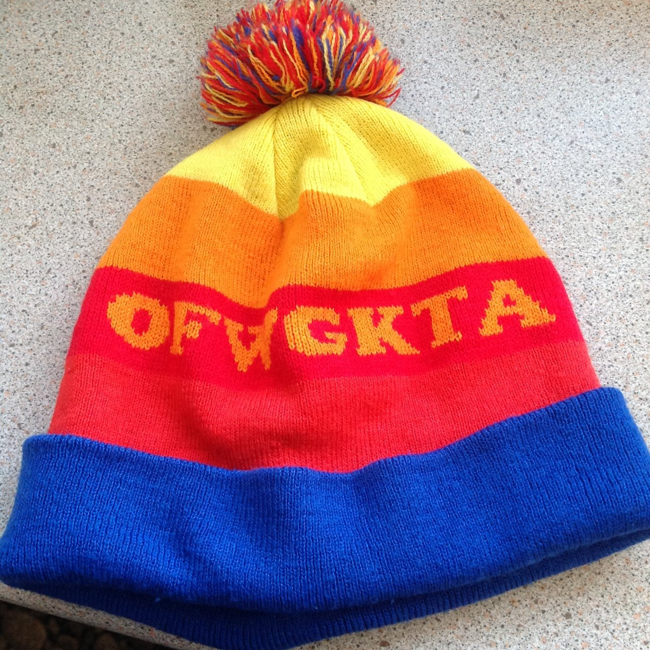 Genuine Odd Future rainbow fold beanie. Stripes with OFWGKTA - Depop 220c9cf0453