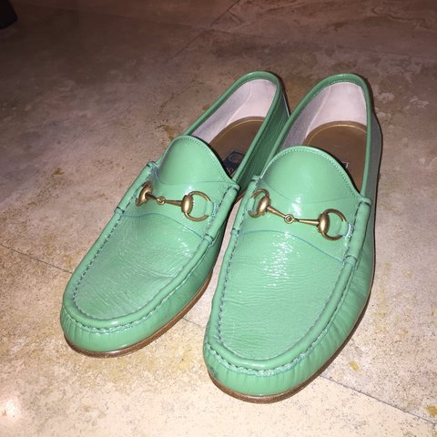f5955ca45eb 50th anniversary green patent leather gucci loafers. Size to - Depop