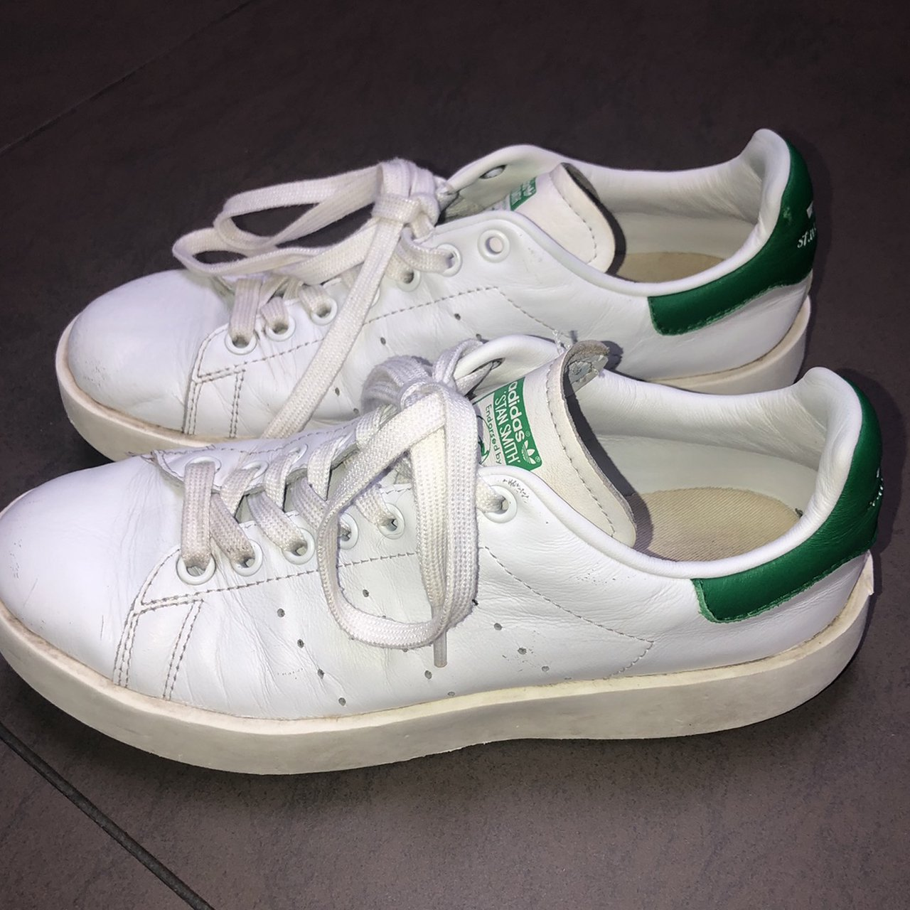 Adidas stan smith white and green bold