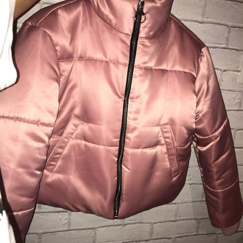 2fafdea9c8 Thinking about selling my pink satin puffer jacket  slightly - Depop