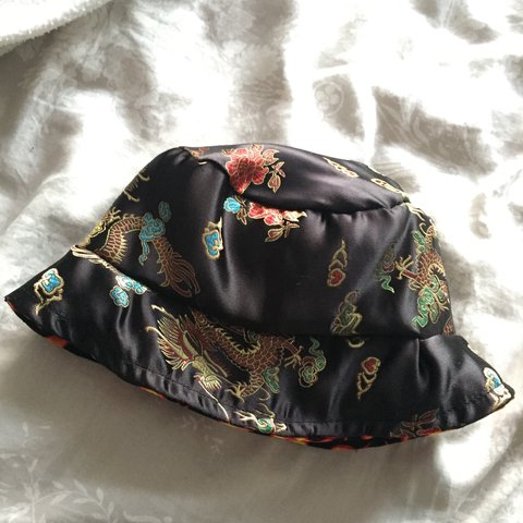 6a1072b2e1771a Oriental Chinese Satin Bucket Hat, with flame print reverse, - Depop