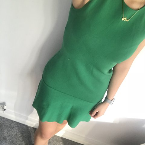 0b382e13 @sophielwoo. last year. Telford, United Kingdom. Zara green flippy hem knit  dress ...
