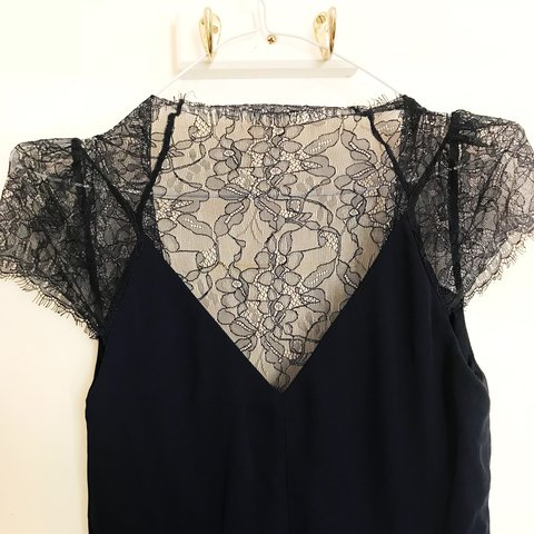 5938078ae2d1 Navy blue, midi and lace flowy dress. Lace short sleeves and - Depop