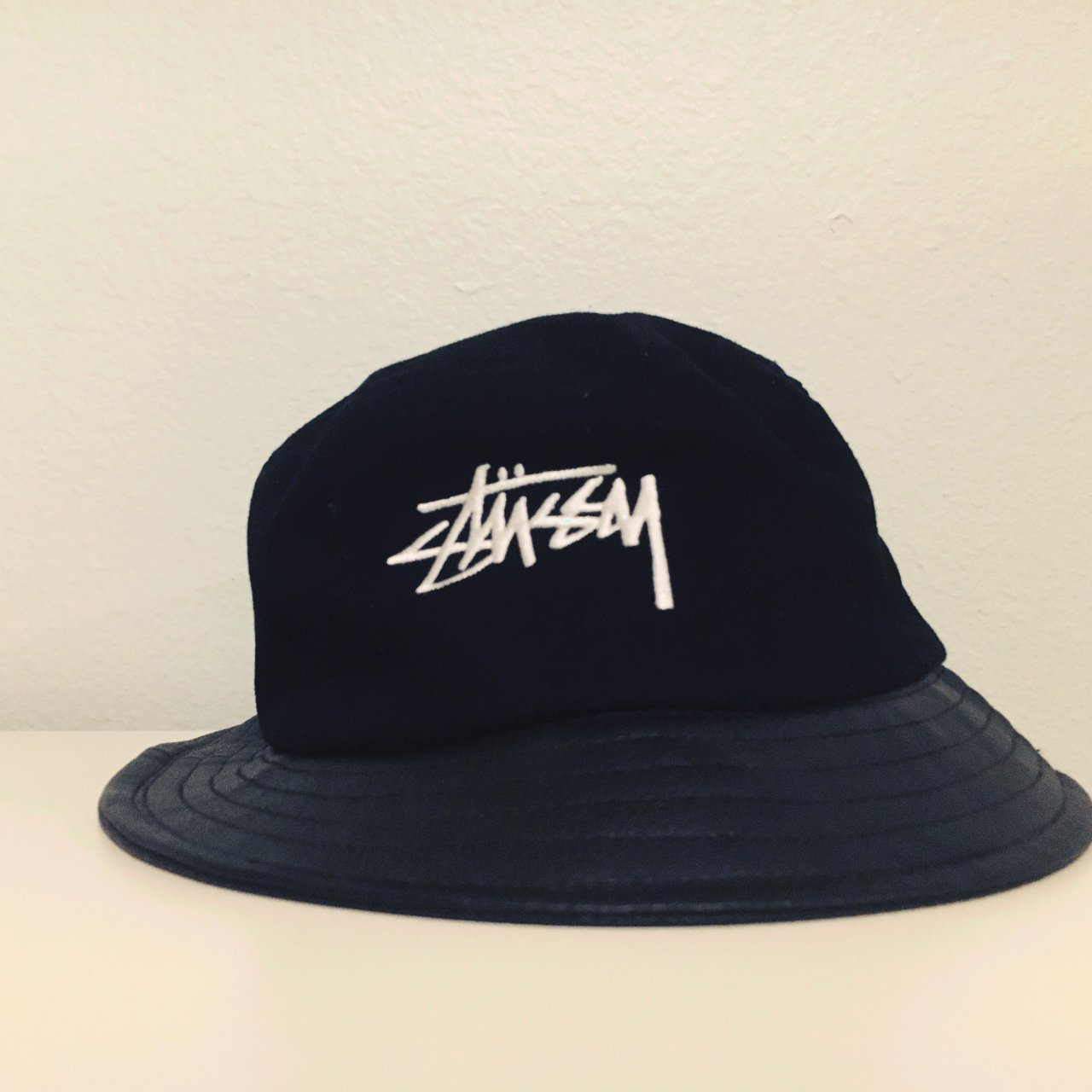Stussy bucket hat! All black   the edge is leather. The said - Depop 876d444a97d1