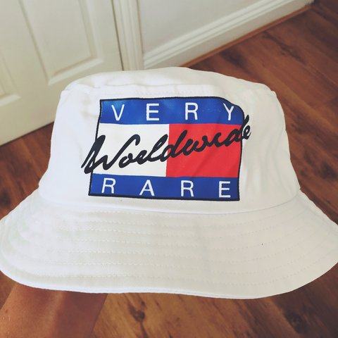 79e6bde4 Wavey Red Blue and White Tommy Hilfiger KYC bucket hat. 3 in - Depop