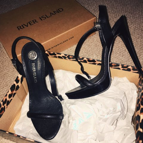 eb7d1d49420d @peabee. 3 years ago. Sandwich, UK. River Island black snake print barely  there heels ...