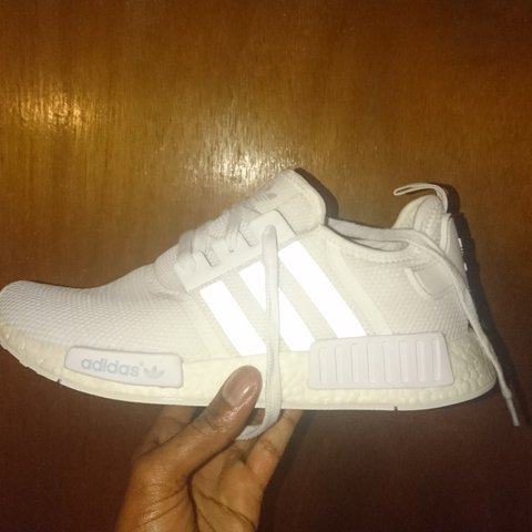 743f01552 ADIDAS NMD TRIPLE WHITE R1. WORN ONCE 9 10 CONDITION LIKE A - Depop