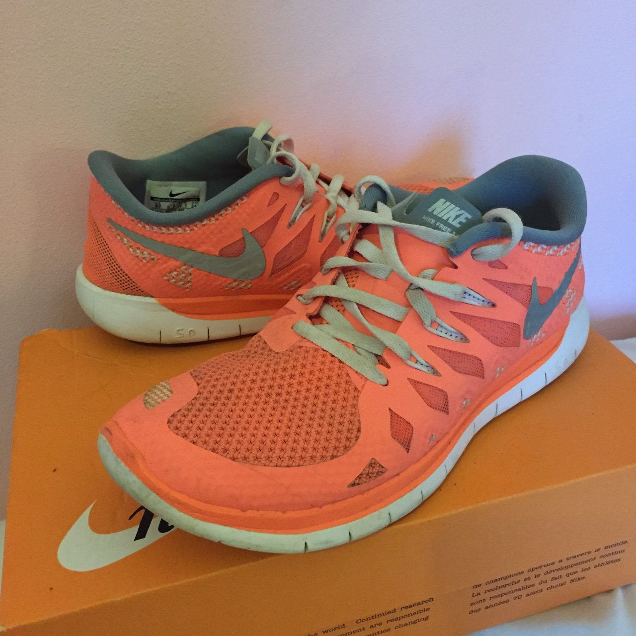 buy popular 804b4 105ae Size 5.5 Nike Free Run 5.0 trainers in a lovely orange coral - Depop