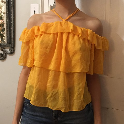 829d7e1ab06 @anthasam. last month. New York, United States. H&M yellow flounce halter/ off the shoulder top.