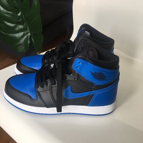 4cb8b4d2103 Air Jordan 1 Blue Royal labeled US size 4.5Y which I believe - Depop