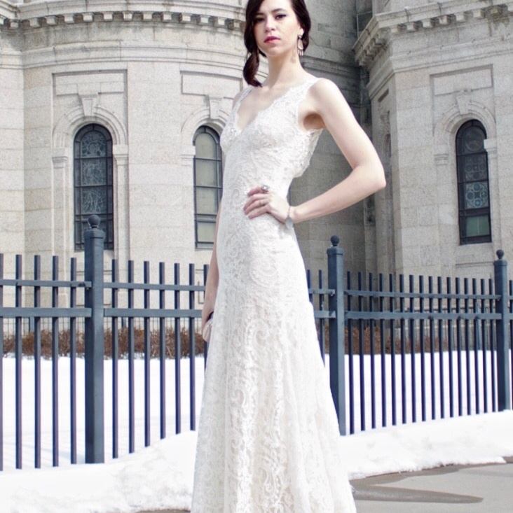 Monique Lhuillier Lace Wedding Dress With Silk Slip Depop