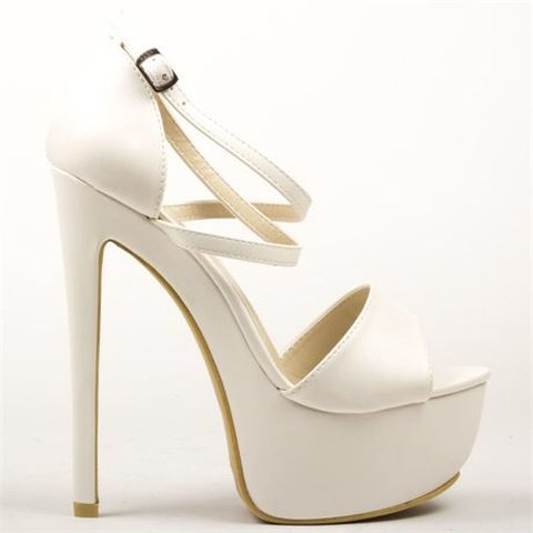 c4a8be745c13 White strappy platform heels from Korkys worn twice