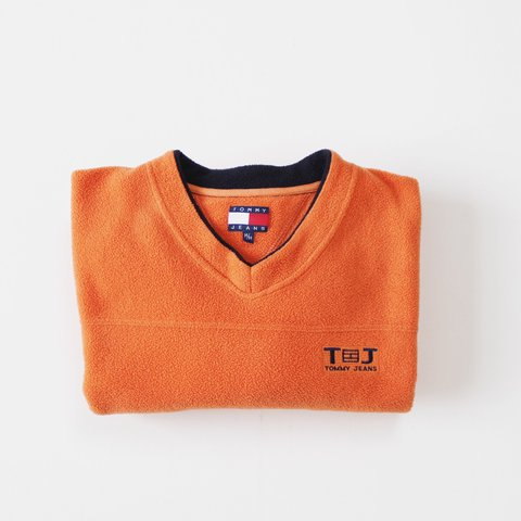 Vintage Tommy Hilfiger Fleece Sweatshirt ~ burnt orange ~ M - Depop 42244f065