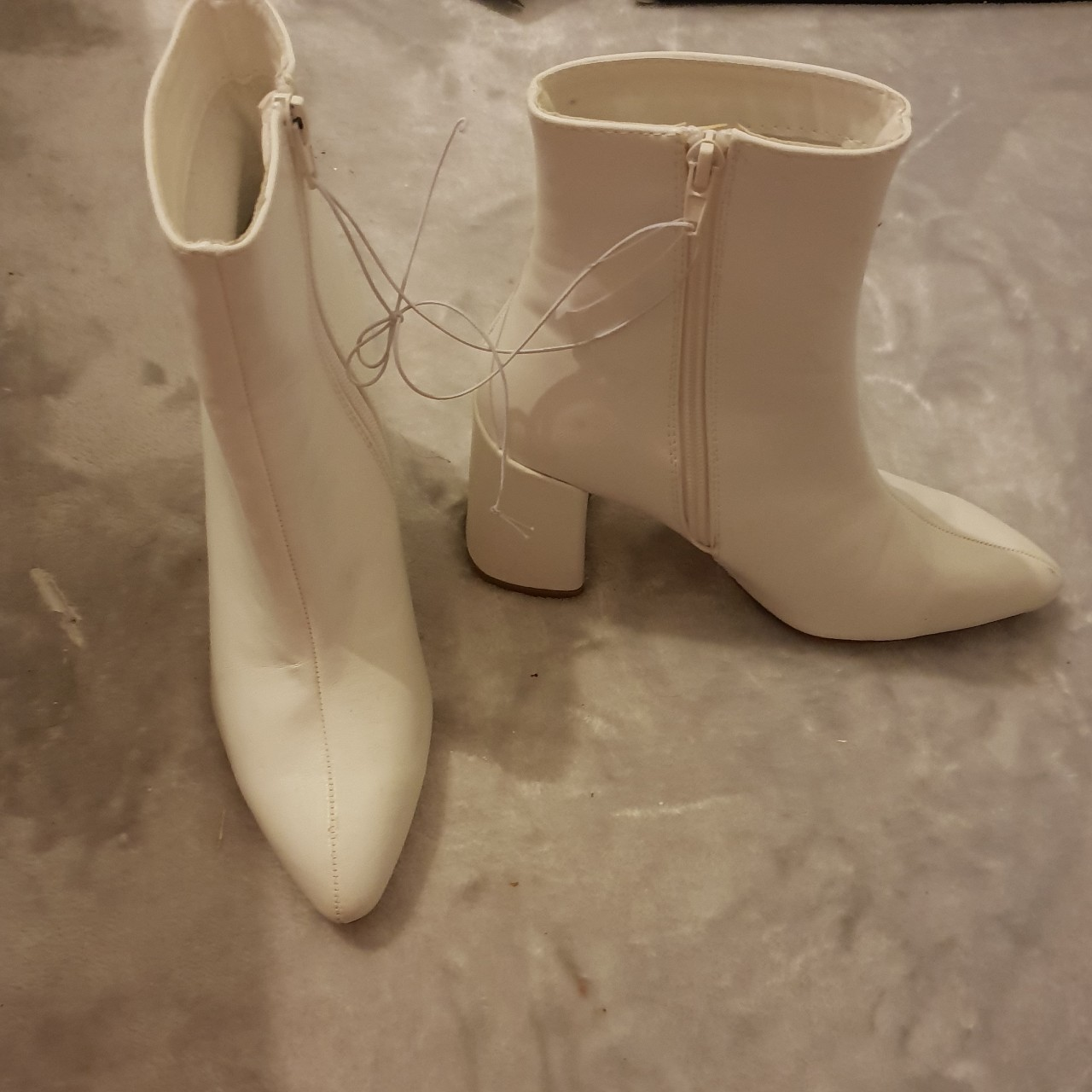 white pointed size 3 ankle boots