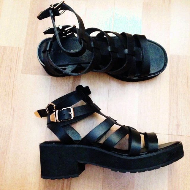 efe15233f9ad Chunky black new look gladiator sandals. Size 6. Worn a of - Depop
