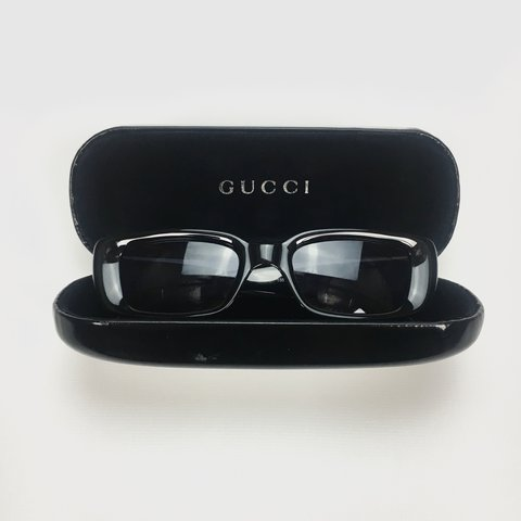 ca1c7fef26f Gucci Palladium square sunglasses 🕶 • black • includes case - Depop