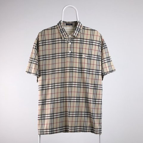 f76ae946 Vintage Burberry Nova check polo shirt Size XL Embroidered - Depop