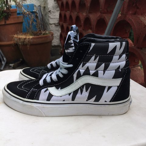 fa304cf6b20116 Vans sk8 hi women s black and white lightning style in UK 6. - Depop