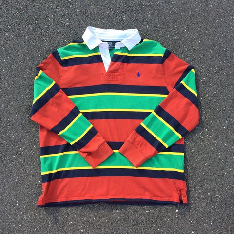d489e07ce50 @ronanvk. 2 years ago. Essex, UK. Vintage Polo Ralph Lauren rugby shirt  with red ...